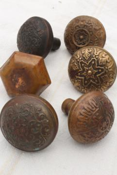 art nouveau antique brass door knobs, original patina aesticic vintage hardware lot