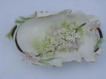 art nouveau asymetrical china handkerchief dish, flowering tree branch