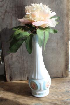 artist signed hand painted vintage milk glass bud vase, rose medallion floral