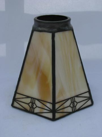 arts crafts mission style replacement lamp shade leaded glass light. Black Bedroom Furniture Sets. Home Design Ideas