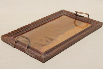 arts & crafts period vintage carved wood tray w/ hammered wrought copper handles
