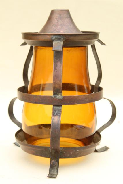 arts & crafts vintage copper cage light shade, amber glass chimney pendant lamp globe