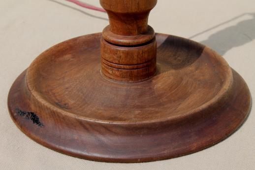 Arts crafts vintage wood table lamp base antique for Vintage wooden table lamps