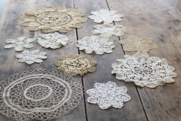 assorted small doilies, lace & crochet table mats & goblet rounds, vintage doily lot