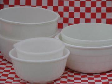 assorted vintage mixer bowls, old white milk glass mixing bowl lot