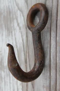 authentic antique barn hardware, old forged iron hook farm rope pulley hanger