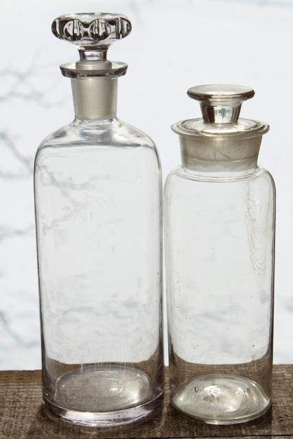 authentic old antique apothecary bottles, tall display pharmacy jars w/ glass stoppers