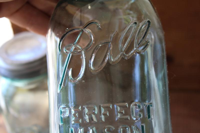 authentic vintage Ball Perfect Mason jars, old aqua blue glass canning jars