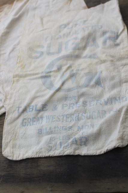 authentic vintage Great Western printed cotton sugar feedsacks, farmhouse rustic fabric