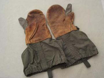authentic vintage army shooting mittens, drab green cotton w/ leather palm