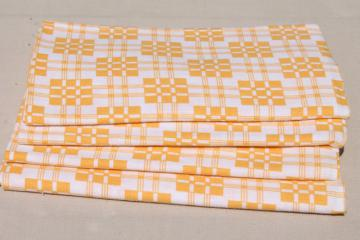 authentic vintage cotton feed sack fabric kitchen towels, yellow & white checked plaid