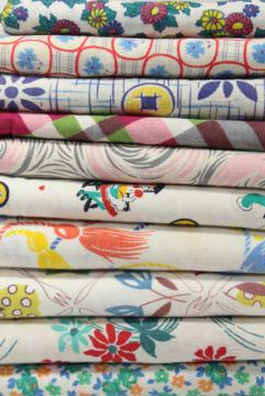 authentic vintage cotton feed sack prints, printed feedsack fabric lot