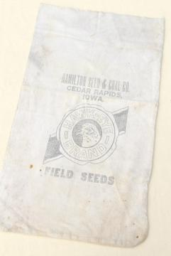 authentic vintage cotton grain sack, hawk eye bird graphics farm seed bag