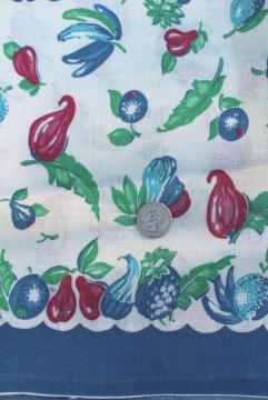 authentic vintage feed sack fabric, fruit & vegetables border print cotton