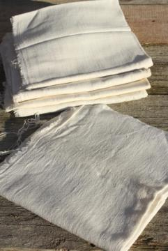 authentic vintage feed sack fabric, homespun weave white cotton flour or grain bag material