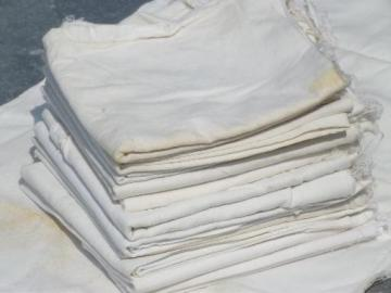 authentic vintage flour sack fabric, 12 primitive cotton sacks w/ stitching