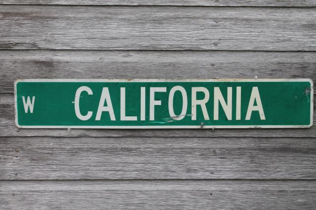 authentic vintage street sign W. California, old used all metal road sign