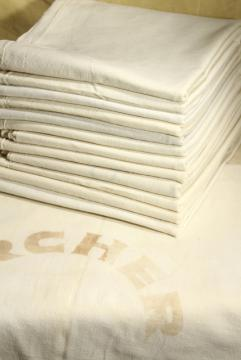 authentic vintage unbleached cotton feedsack fabric, lot of a dozen old grain sacks