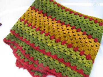 autumn colors vintage crochet acrylic afghan, fall greens, golds