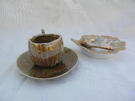 autumn leaf dish & tiny walnut cup & saucer, vintage nature inspired china