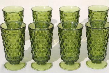 avocado green glass footed tumblers, tall cube pattern glasses Whitehall Indiana Colony