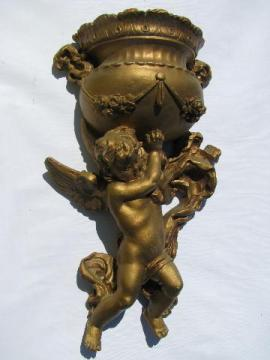 baby angel, vintage ornate gold cherub wall art pocket vase for faux ivy, flowers