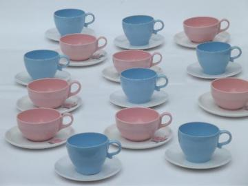 baby blue & pink rose print  vintage melmac cups & saucers, 50s retro!