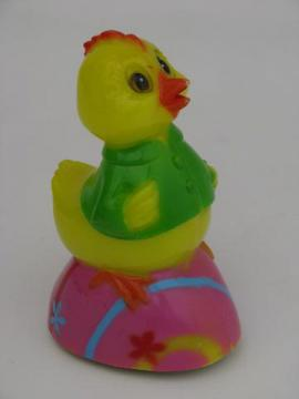 baby chick on Easter egg racer, vintage hard plastic friction toy car