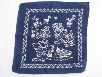baby ducks print cotton child's hanky, little vintage bandana handkerchief