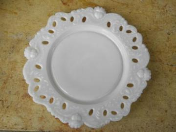 baby face pattern antique vintage milk glass plate, lace edge w/ cupid