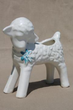 baby lamb figural planter, mid-century vintage matte white pottery flower pot