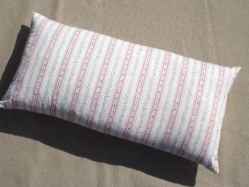 baby size vintage down & feather pillow w/ old floral striped cotton cover