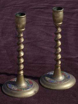 barley twist enamel color solid brass candle sticks, vintage enameled brass