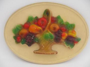 basket of bright fruit, 30s vintage painted chalkware wall art plaque
