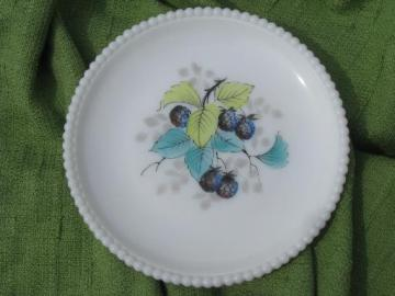 bead edge Westmoreland milk glass plate, hand-painted blue raspberries