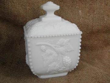 beaded grape pattern covered box, vintage Westmoreland milk glass