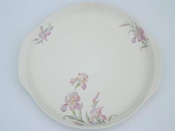 bearded iris Ballerina Universal china platter or cake plate w/ handles