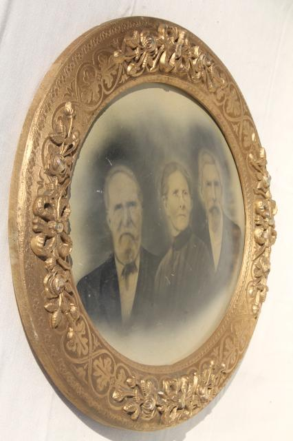 beautiful old carved wood oval frame w/ antique 1880s very solemn ...