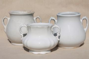 beautiful shabby old ironstone china sugar bowls & biscuit jars for vases
