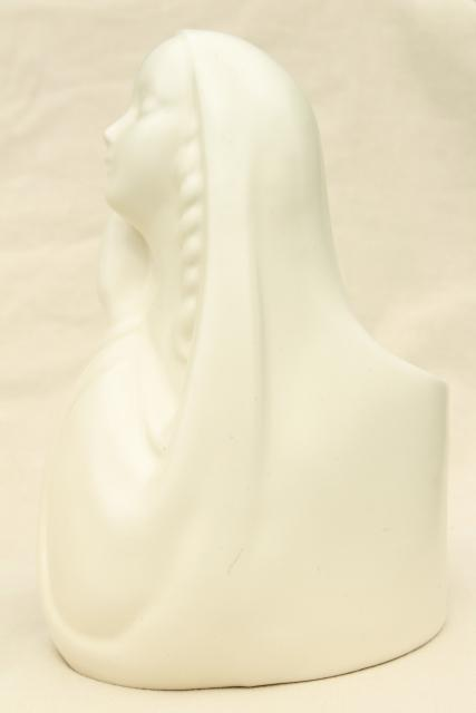 beautiful vintage Madonnas, matte white pottery Mary planter vases, large religious statues