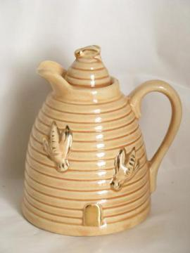 beehive w/ bees, vintage USA pottery honey pitcher, bee skep hive shape