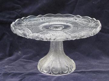 bellflower floral pattern, vintage pressed glass cake stand pedestal plate