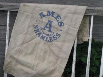 big A Ames seamless heavy cotton grain bag, old faded stripe feedsack