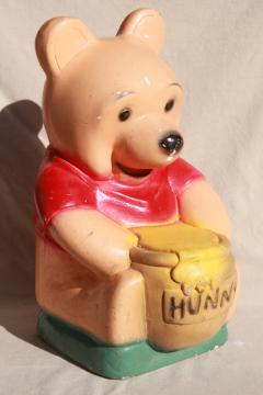 big Winnie the Pooh vintage Kawaii carnival chalkware coin bank, shabby but cute!
