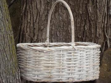 big bamboo gathering basket, distressed shabby white paint garden basket