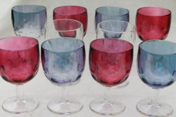 big chunky glass goblets, 10 vintage Hoffman House style glasses in red & blue