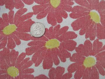 big daisies flower print, vintage cotton feed or flour sack fabric