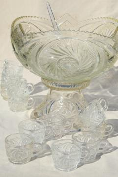 big glass punch bowl & stand, cups set - vintage whirling star pattern pressed glass