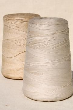 big grubby old spools of string, primitive white cotton cord & sewing thread cones
