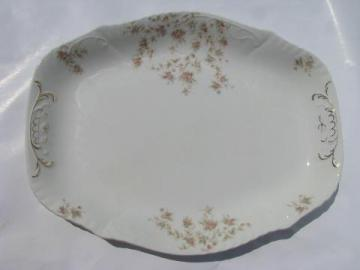 big heavy antique ironstone china platter, vintage pink floral transferware